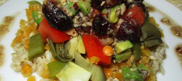 Ensalada-vegana-de-lenteja-roja-y-arroz-integral